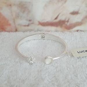 New Lucky Brand Flower & Stone Cuff Bracelet